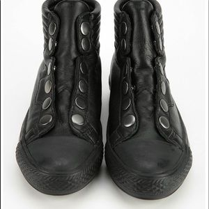 ASH Women's Black Vespa Tonal Snap Leather Sneaker